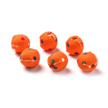 - Surprise the beader in your life with this six-pack of orange cloth-covered beads. The multicolor dots and vivid hues enrich projects with a whimsical air.