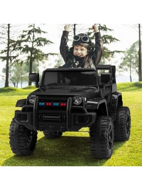 Zimtown Safety 12V Battery Electric Remote Control Car, Kids Toddler Ride On Truck Toy Motorized Vehicles, Wheels Suspension, Seat Belts, LED Lights and Realistic Horns Black