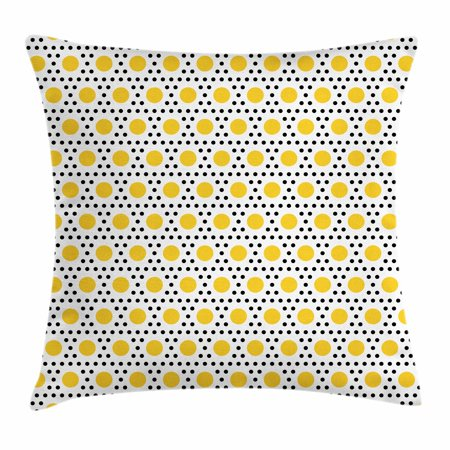 Polka Dots Throw Pillow Cushion Cover, Egg Yolk Motif Polka Dotted Pattern Blanks Filled with Spots Design, Decorative Square Accent Pillow Case, 18 X 18 Inches, Yellow Black and White, - Throw Blank