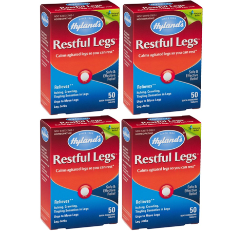 (4 pack) Hyland's Restful Legs Tablets, Natural Relief of Itching, Crawling, Tingling and Leg Jerk, 50