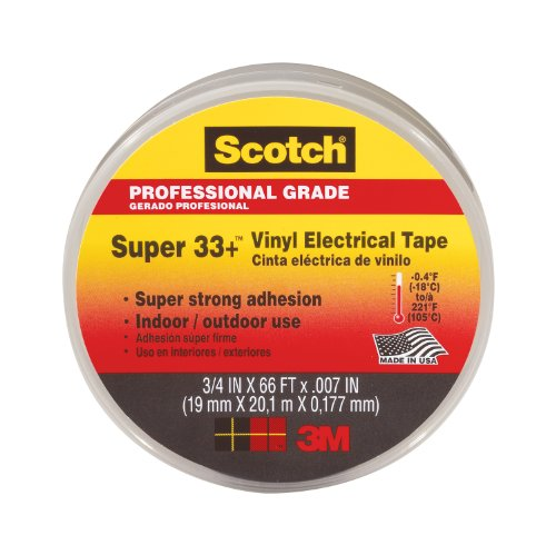"Scotch Super 33+ Vinyl Electrical Tape, 3/4 Inch, 06132 - 0.75"" Width X 66 Ft Length - Vinyl - Abrasion Resistant, Moisture Resistant, Flame Retardant, Water Resistant, Weather Proof, (6132_45)"