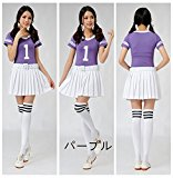 10-Color Girls Dance Costumes Stage Cheerleaders Performance Clothing Cheerleaders Baseball Football Cheers Costume Cosplay Costume Purple,XL