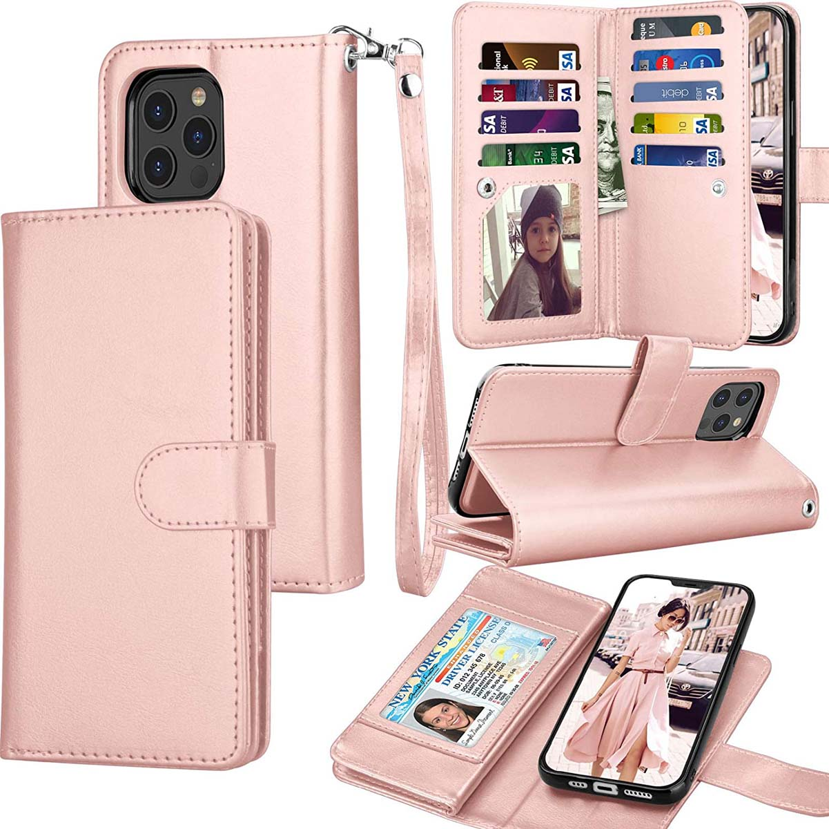 Kowauri for iPhone 12//iPhone 12 Pro Case,PU Leather Wallet Case with Credit Card Slot Holder Ultra Slim Protector Case for iPhone 12//iPhone 12 Pro 6.1 inch 2020 Gray