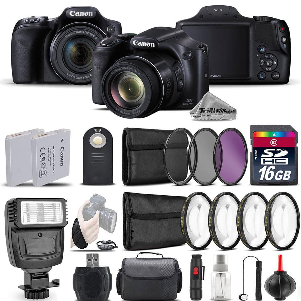 Canon PowerShot SX530 HS Digital Camera+ Flash + 7PC Filter + EXT BAT - 16GB Kit