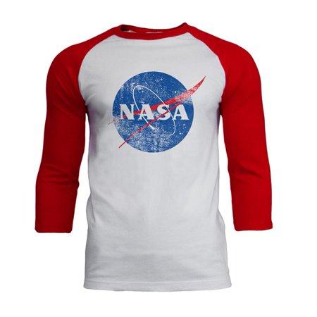 NASA Distressed Logo Mens Soft Raglan T Shirt