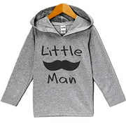 Custom Party Shop Baby Boy's Mustache Little Man Hoodie Pullover Small Grey and Black
