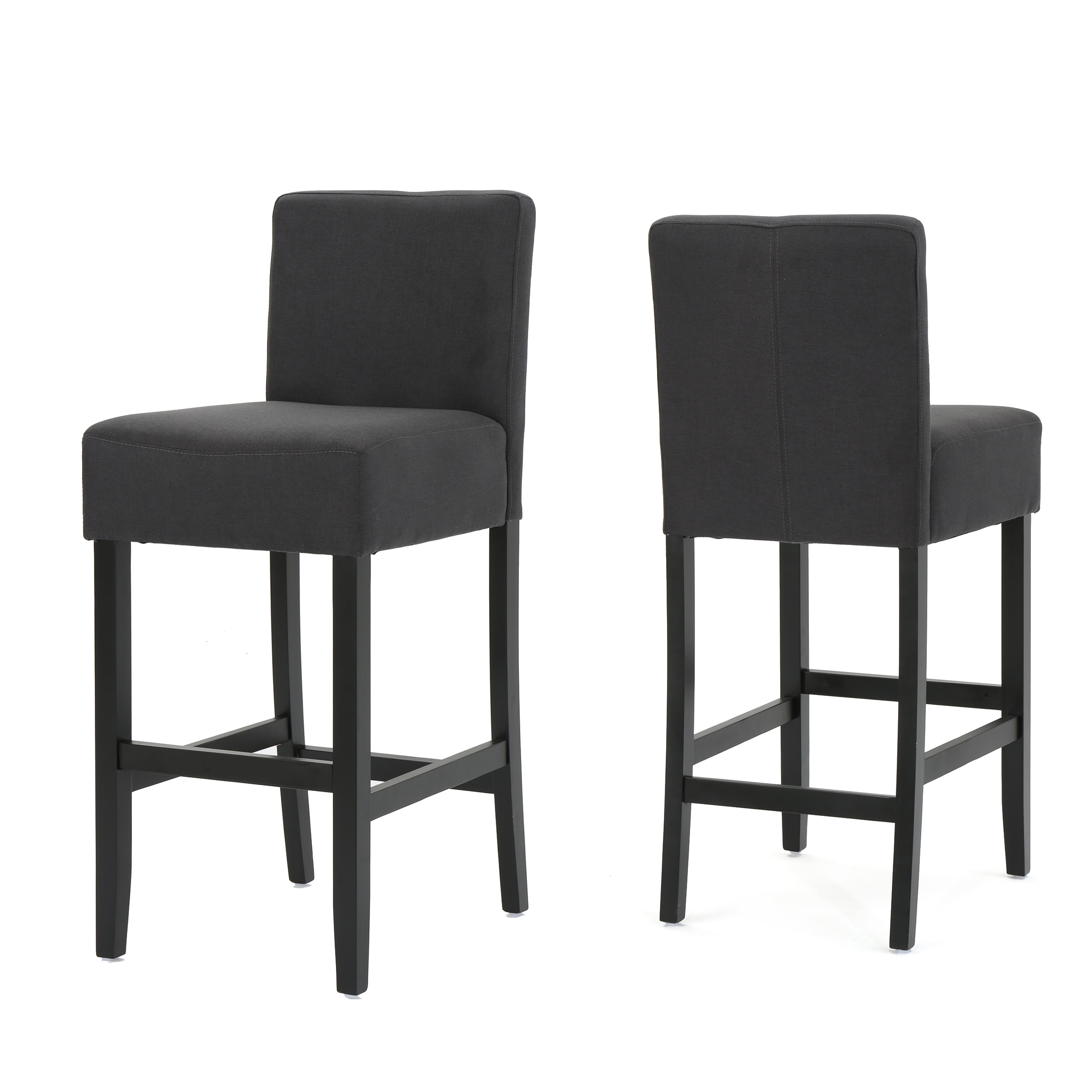 Prim Fabric Barstools, Set of 2, Dark Charcoal