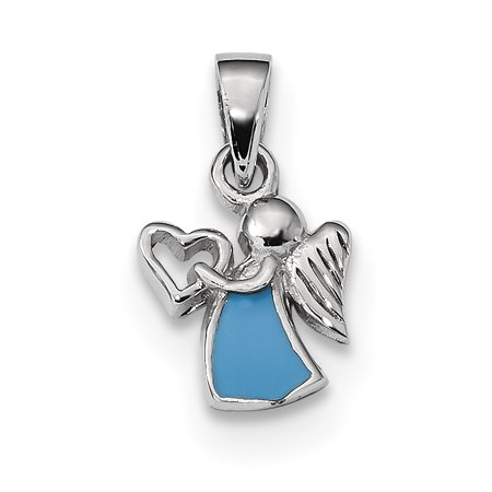 (925 Sterling Silver Enameled Angel Heart Pendant Charm Necklace Religious For Women)