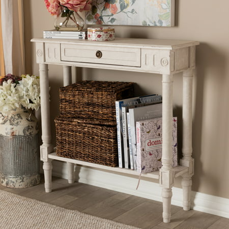 Baxton Studio Ariella Country Cottage Farmhouse Whitewashed Drawer - Country cottage console table