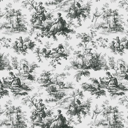 "Waverly Inspirations Cotton Duck 45"" Toile Grey Fabric, per Yard"