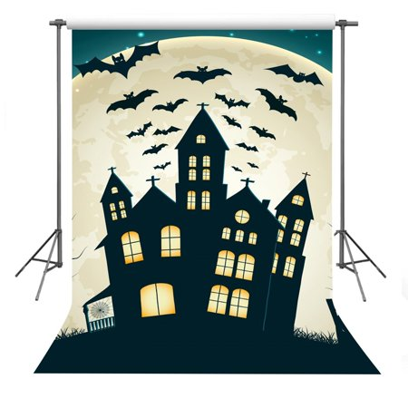 GreenDecor Polyester Fabric 5x7ft Halloween Theme Scary Bat Gloomy Night Photography Backdrop Props For Studio Video Shooting for $<!---->