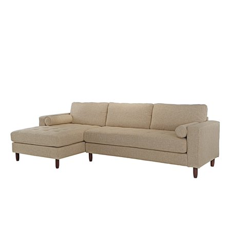 Mid-Century Modern Tufted Fabric Sectional Sofa, L-Shape Couch with Extra Wide Chaise Lounge (Beige) ()