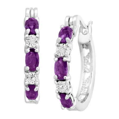 1 3/8 ct Natural Amethyst Hoop Earrings with Diamond Accents in Platinum-Plated Brass Amethyst Hinged Hoop Earrings