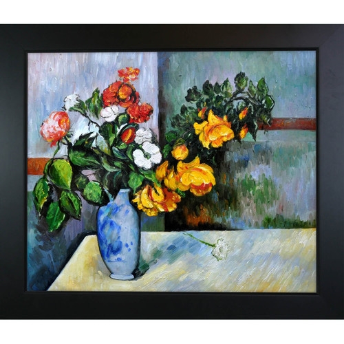 Tori Home Still Life Flowers in Vase by Paul Cezanne Framed Original Painting