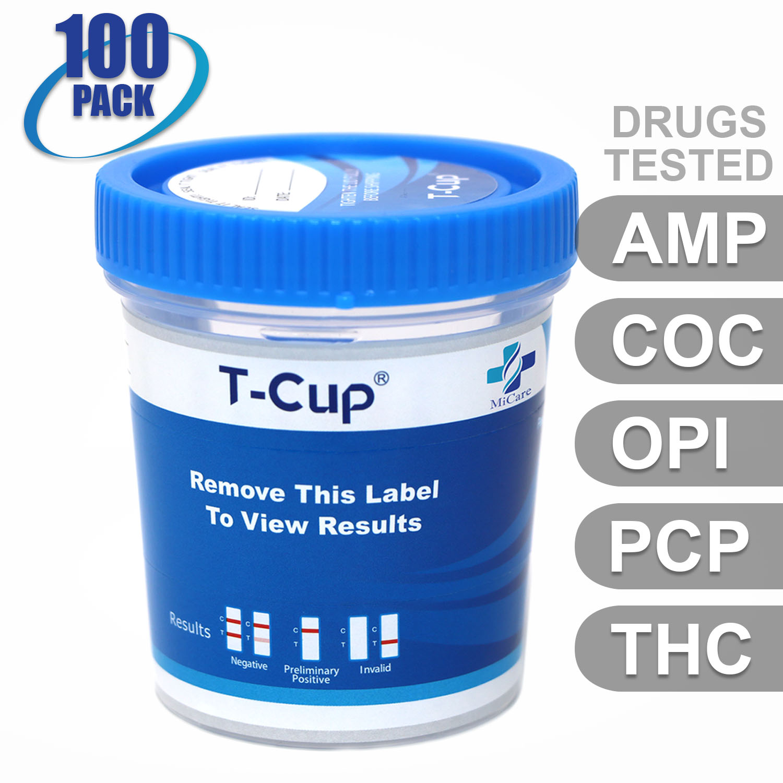 MiCare [100pk] - 5-Panel T-Cup Instant Urine Drug Test (AMP/COC/OPI/PCP/THC) #MI-TDOA-154