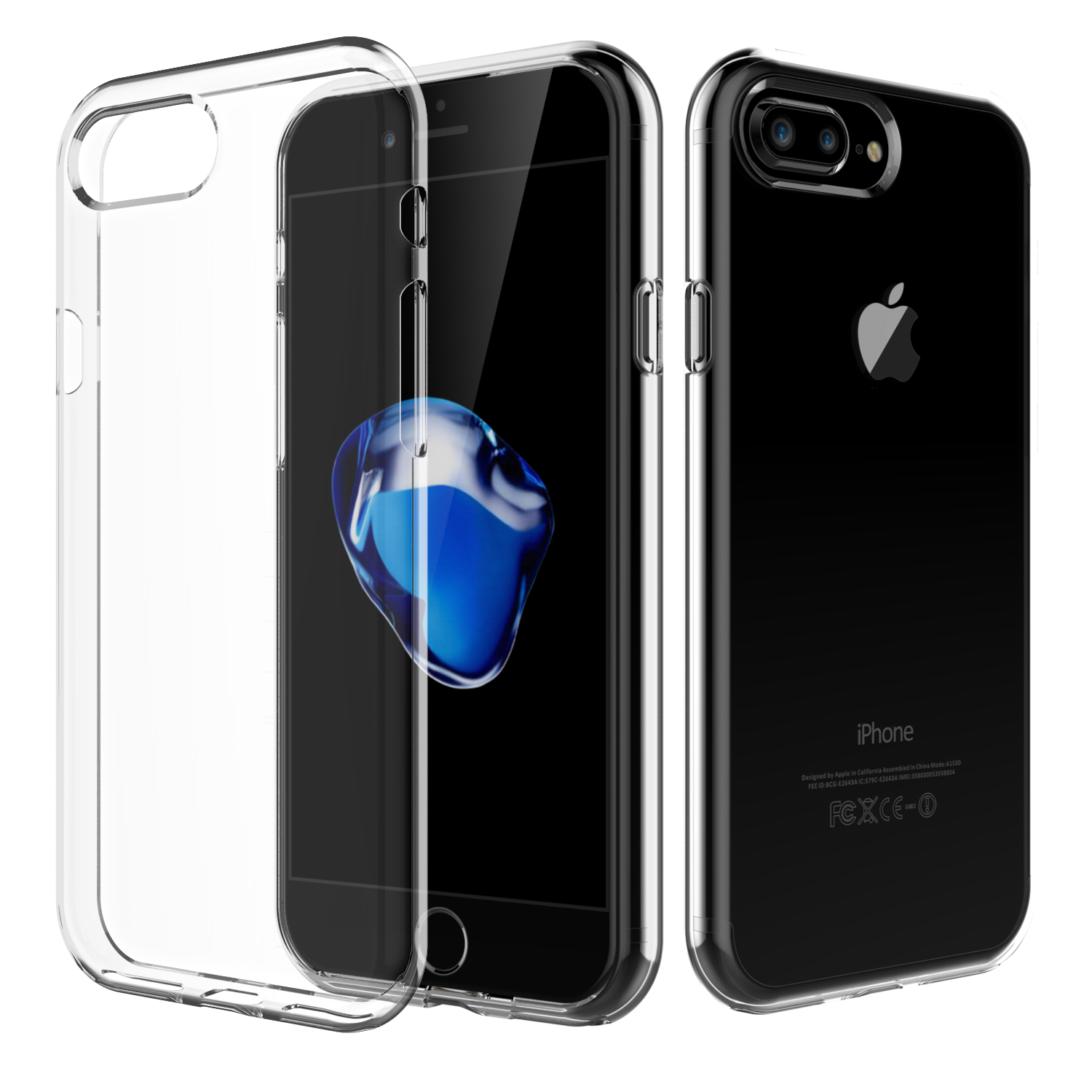 For iPhone 7 Plus, Shamo's [Crystal Clear] Case [Shock Absorption] Cover TPU Rubber Gel [Anti Scratch] Transparent Clear Back, Soft Silicone, Screen Raised Lip Protection, Impact Resistant, Model 2