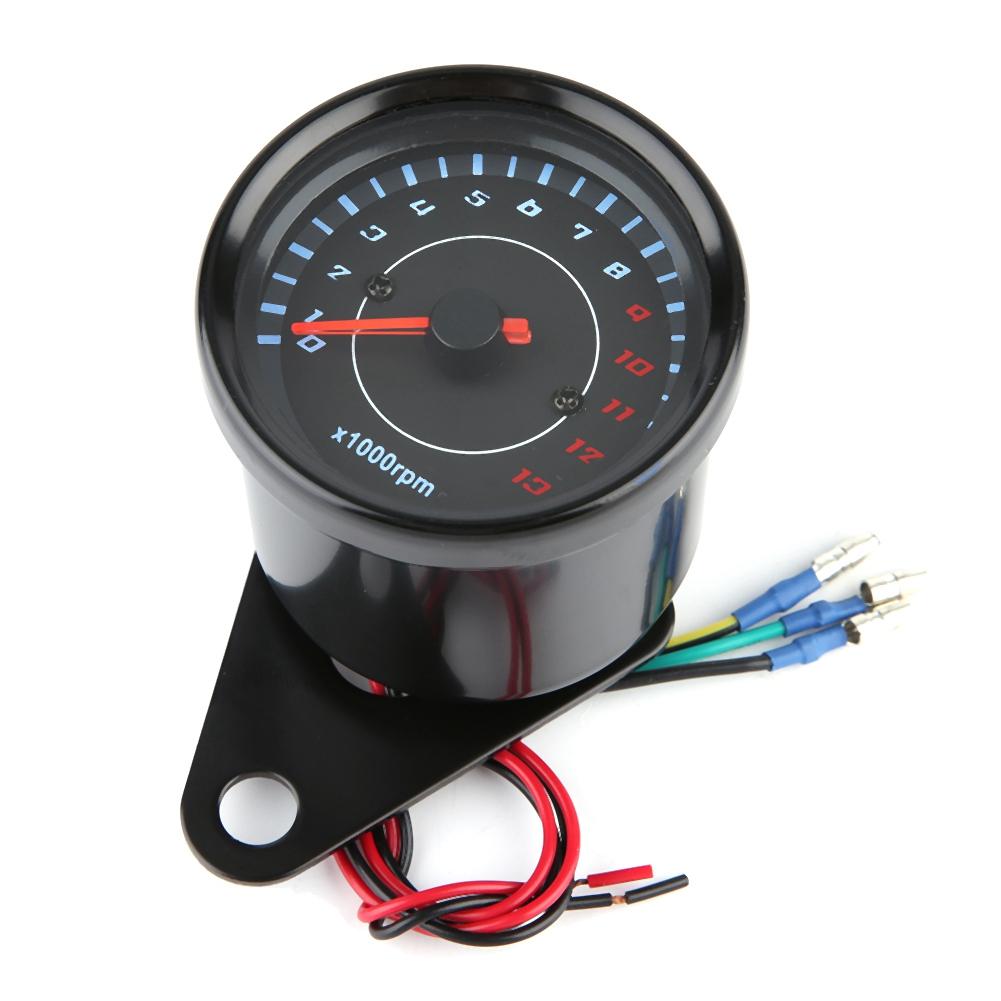 DC 12V Electronic Tachometer Gauge,Digital Tach Meter Universal Motorcycle Tachometer Time Clock Gauge LED Digital Gauge Meter