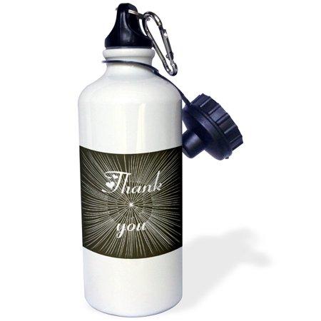 3dRose White Spokes on Black Thank You, Sports Water Bottle, 21oz