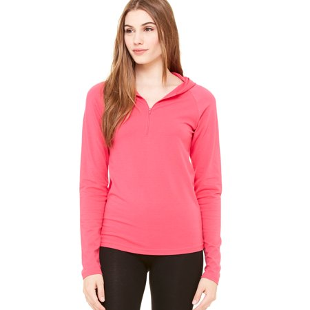 (Bella + Canvas Women's Cotton Spandex 1/2 Zip Hooded Pullover - B875)