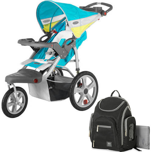 Instep grand safari single jogging stroller with Diaper Bag Value Bundle