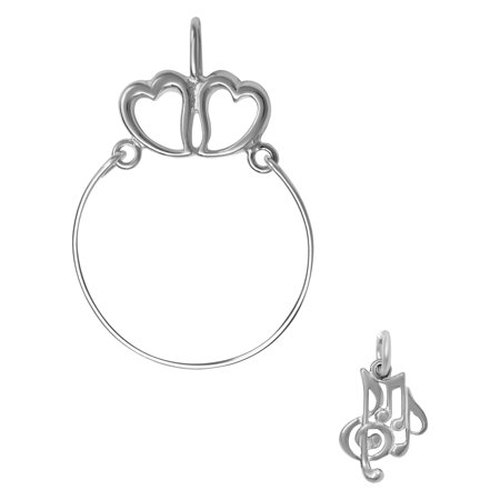 Diamond Musical Note Charm (Sterling Silver Musical Notes Charm on a Hearts Charm Holder )