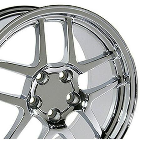 C5 Z06 Rims - 17x9.5 Wheels Fit Corvette, Camaro - C5 Z06 Style Chrome Rims, Hollander 5146 - SET