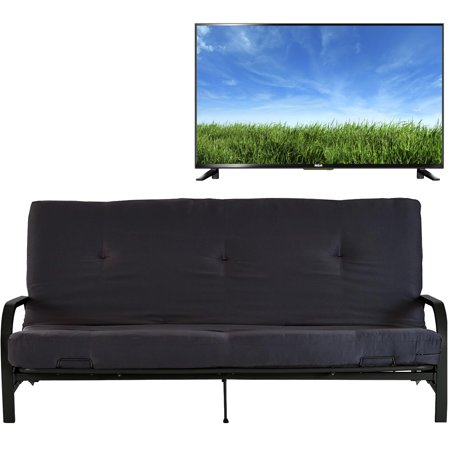 "Mainstays Black Metal Arm Futon with Full Size Mattress, Multiple Colors with RCA RLDED3258A 32"" 720p, 60Hz- HD LED TV Bundle"