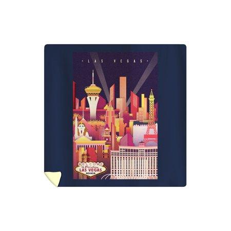 Las Vegas, Nevada - Neon Skyline - Lantern Press Artwork (88x88 Queen Microfiber Duvet Cover) Las Cruces Duvet Cover