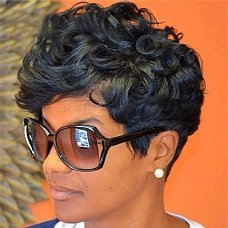 Tuscom Women Short Black Front Curly Hairstyle Synthetic Hair Wigs For Black - 1950 Women's Hairstyles