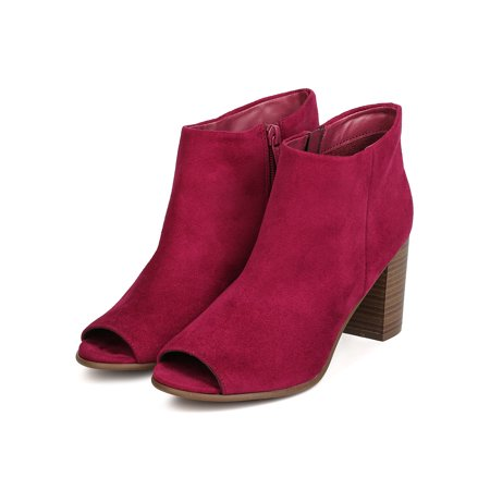 Berry Chutney - Breckelles Women Amber-31 Faux Suede Peep Toe Chunky Stacked Heel Bootie (6.5)