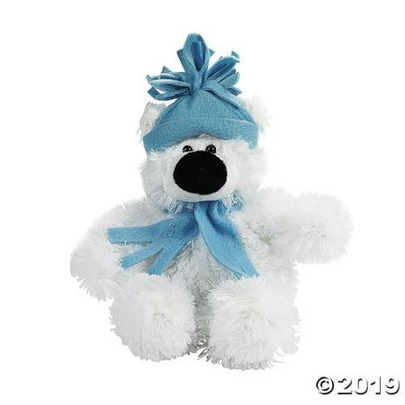 Small Holiday Stuffed Polar Bear Wooden Polar Bear