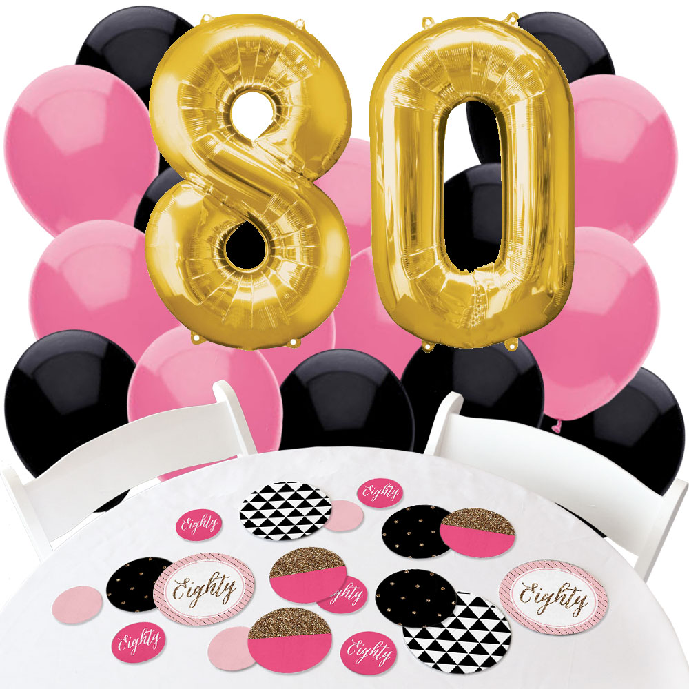 Chic 80th Birthday - Confetti and Balloon Party Decorations - Combo Kit