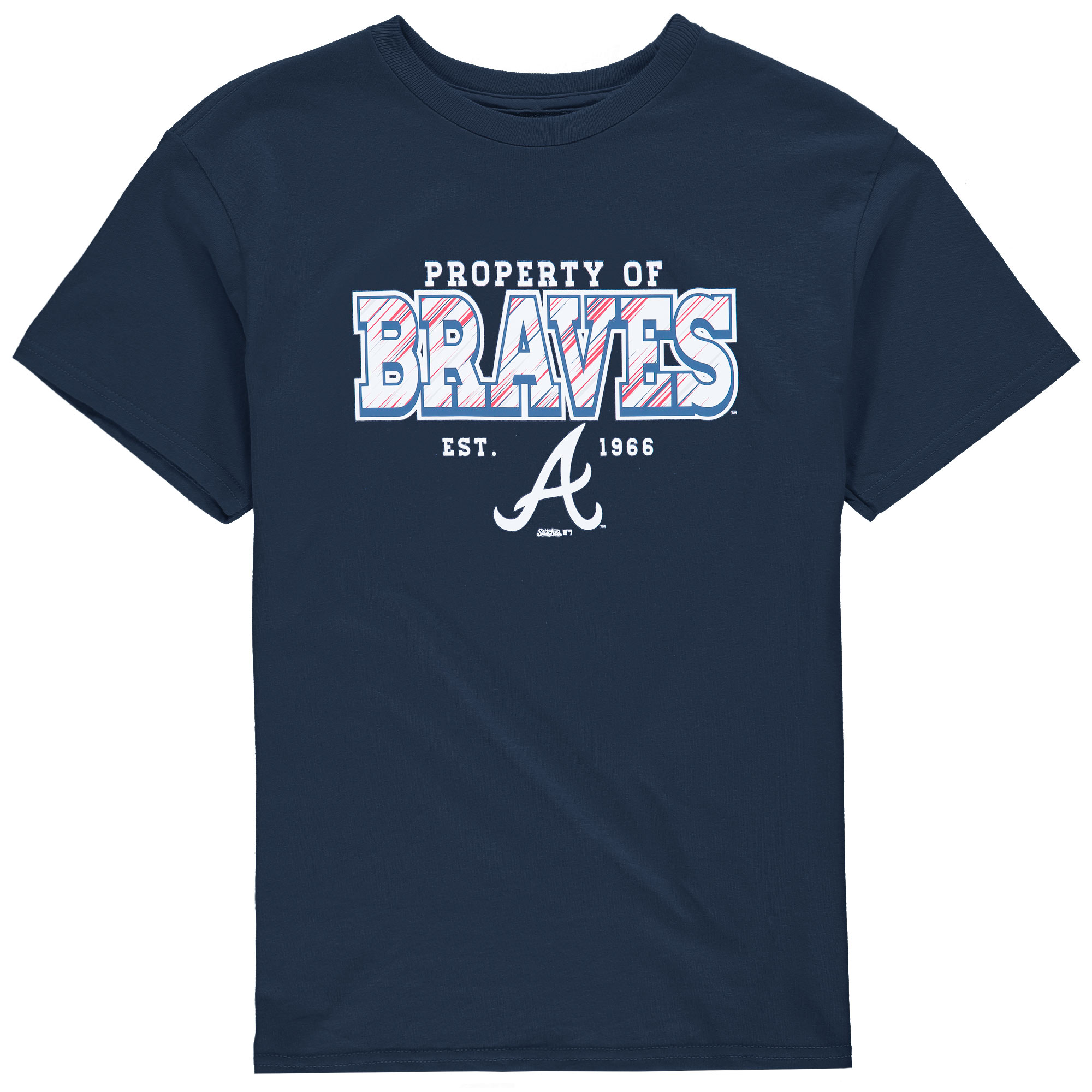 Atlanta Braves Stitches Youth Property Of Team T-Shirt - Navy