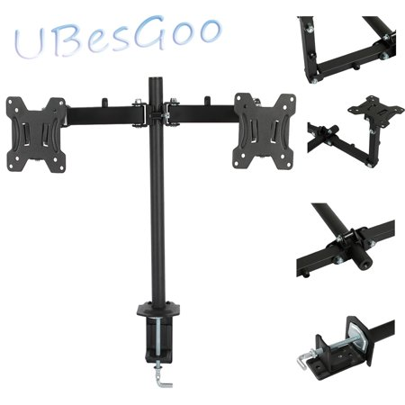 UBesGoo Dual 2 LCD LED Monitor Table Desk Mount Stand Adjustable Arm 2 Screen up to