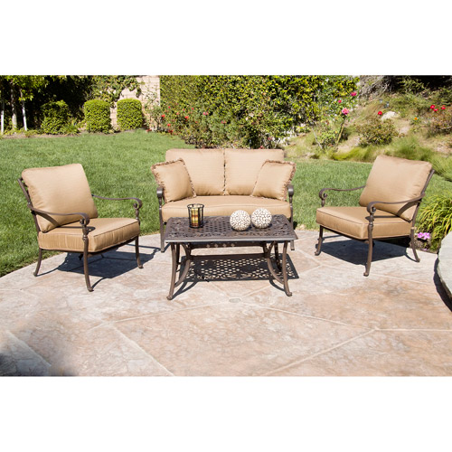 Better Homes and Gardens Lake In The Woods 4-Piece Patio Conversation Set, Seats 4
