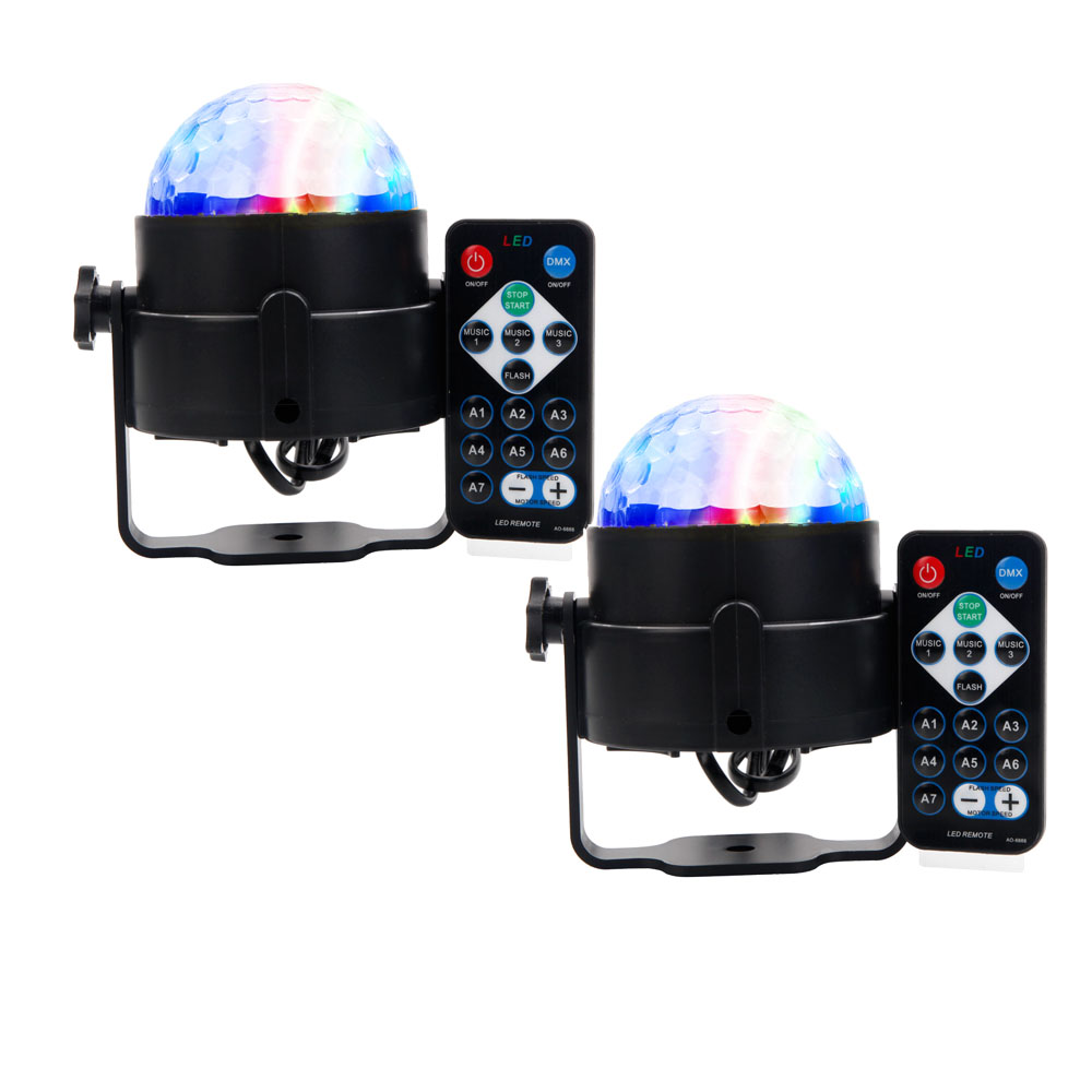 Zimtown 2-Pack Party Disco Ball Projector Light 3w Led Strobe Lamp with Remote Control Sound Activated Stage Lighting