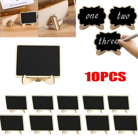 Yosoo Wood Message Boards Signs,10Pcs Mini Chalk Blackboard Wall Kitchen Note Reminder Wood Message Boards Signs For Wedding Party Decor Food Signs - Mini Boards