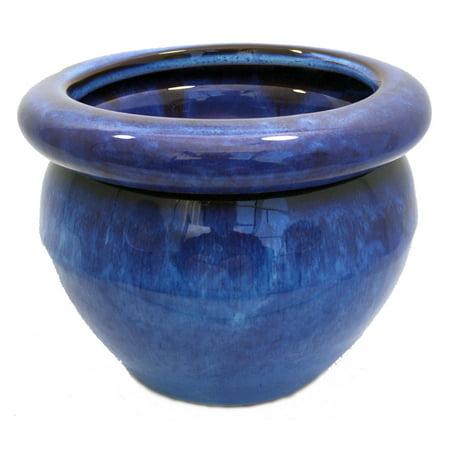Blue Ceramic Bonsai Pot - Round Self Watering Glazed Ceramic Pot - Blue - 6 1/4 x 4 3/4