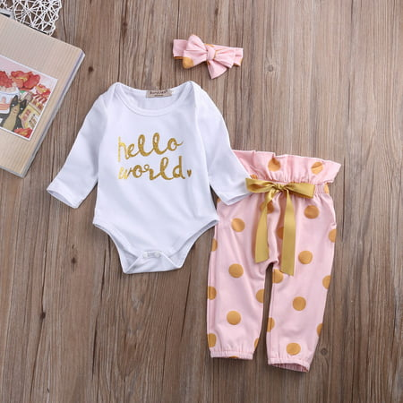 Infant Newborn Baby Girls Hello World Romper Tops Pants Bodysuit Clothes Outfits