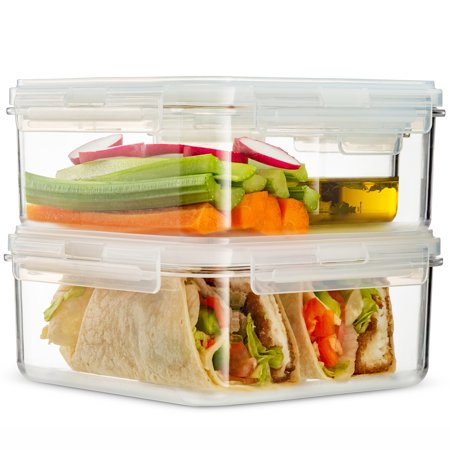 Komax HIKIPS Sandwich and Salad Lunch Box Containers with Dressing Container (Set of 3). Airtight, Leakproof, Perfect Microwavable Meal Prep Containers. Dishwasher Safe and BPA-Free ()
