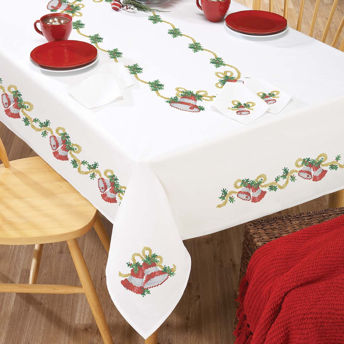 Herrschners® Christmas Bells Table Linens Stamped Cross-Stitch