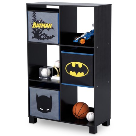 DC Comics Batman 6 Cubby Deluxe Wood Storage Unit (3 Bonus Fabric Bins Included) by Delta (Wood Storage Unit)