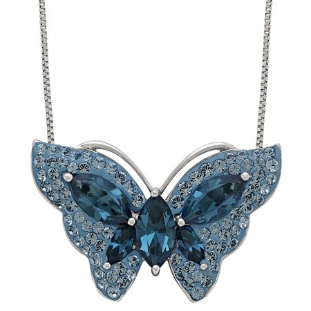 Sterling Silver Blue Butterfly Pendant made with Swarovski Elements, 18