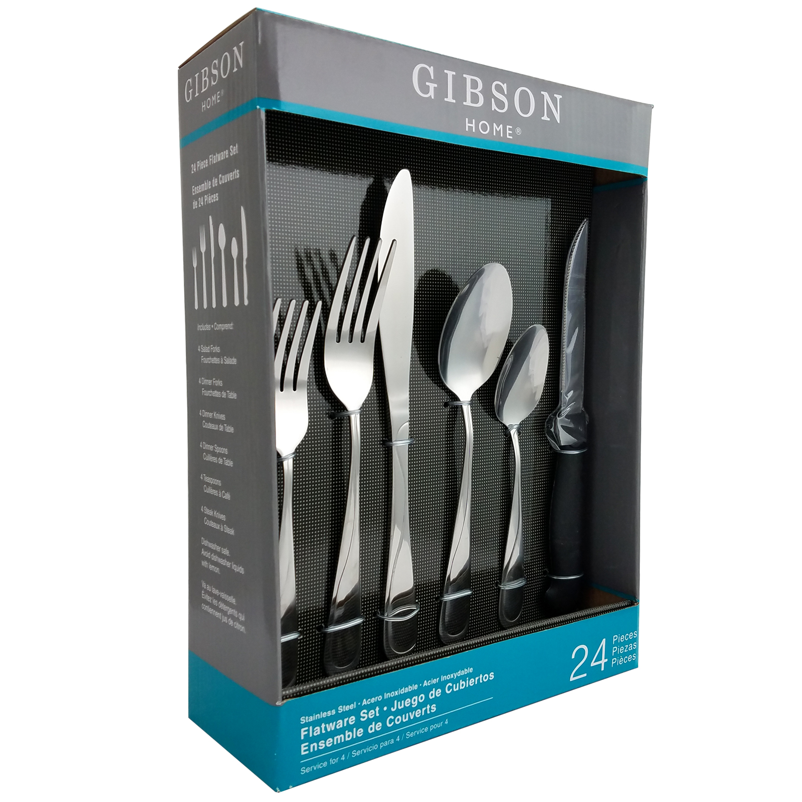 Gibson Home Trillium Plus 24 Peice Flatware Set with 4 Steak Knives