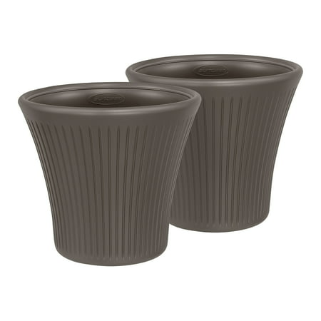 Suncast 16 in. Tisa Resin Planter 2 Pack, Bronze, (Bronze Resin Planter)