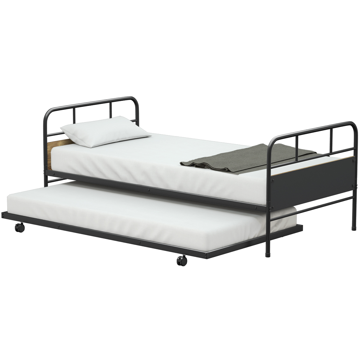 Costway Twin Trundle Day Bed Twin Daybed Trundle Frame Set Walmart Com Walmart Com
