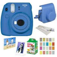 Fujifilm Instax Mini 9 instant Fuji Camera, COBALT BLUE + Camera Case + instant Mini 9 Film Twin Pack + instax Picture Frame + Magnet Frame + 20 Border Stickers Kit +FREE Cleaning cloth (Cobalt Blue)