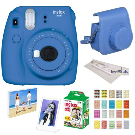 Film Processing Kit (Fujifilm Instax Mini 9 instant Fuji Camera, COBALT BLUE + Camera Case + instant Mini 9 Film Twin Pack + instax Picture Frame + Magnet Frame + 20 Border Stickers Kit +FREE Cleaning cloth (Cobalt Blue))