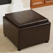 Noble House Bowery Leather Tray Top Ottoman