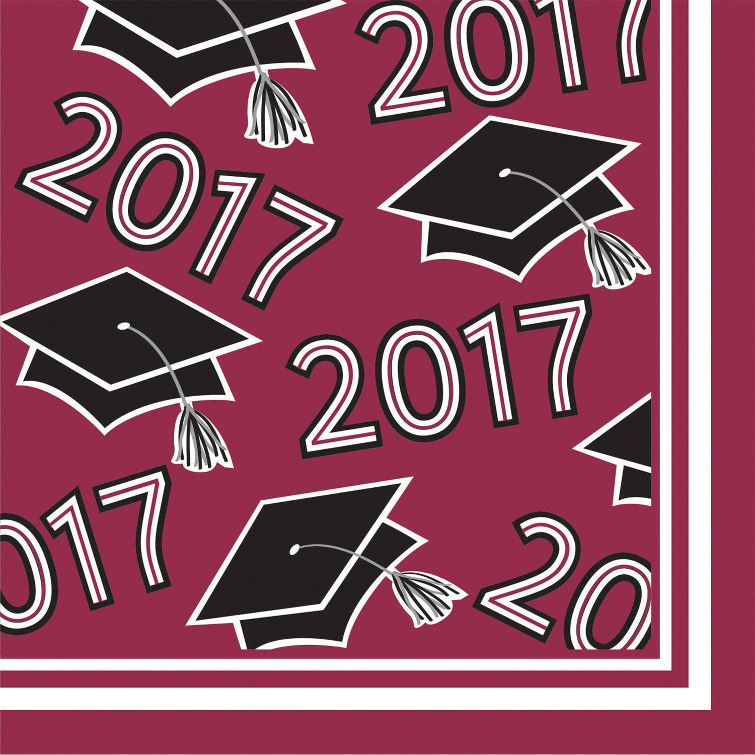 Class of 2017 Burgundy Beverage Napkins, 36pk by CREATIVE CONVERTING